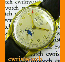 1940's Vintage Cortebert Sport Triple Date Moonphase Original Sub-Second Dial