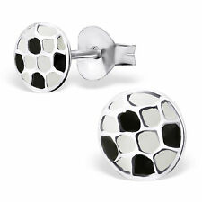 Childrens Girls 925 Sterling Silver FOOTBALL Stud earrings boxed