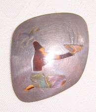 Signed Sterling Mother of Pearl Inlaid Brooch or Pendant _ C503