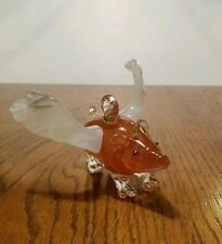 Pink Glass Flying Pig Ornament Car Mirror Decor When Pigs Fly Signed and Dated.