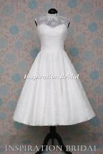 1553 short 50s 60s wedding dresses tea length knee lace gathered at the neckline