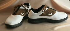 Men's Nike Golf White with Brown Trim Lace Up Soft Spikes Size 9.5  Excelle