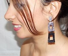 HARMONY OF COLOR CLEAR, BLACK DIAMOND AND BLACK ONYX RHINESTONE EARRINGS