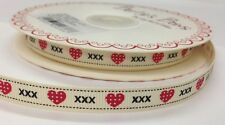 5m Bertie's Bows Polka Dot Heart & Kisses on 9mm Ivory Grosgrain Ribbon, Wedding