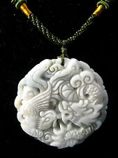 Handcrafted knot work cord adjustable jade carved dragon and phoenix pendant