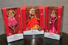 3-SET BARBIE ORNAMENTS Holiday Red Carpet Sugarplum Princess AG Carlton 2014 NEW