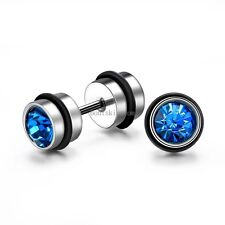 2pcs Round Rhinestone Stainless Steel Dumbbell Stud Earrings Men's Women's Gift
