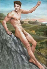 Naked / Nude Man, Hand Painted Oil Painting Wall Decor Art (24x36in, No frame)