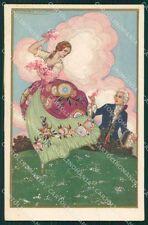 Corbella Italian Art Deco Romantic Couple Degami serie 2158 postcard QT6744