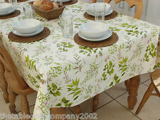 140 x 200cm Rectangle Wipe Clean PVC Tablecloth - Herb Garden