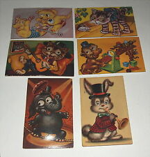 6 vintage Googley Google eyes postcards with squeakers All Work