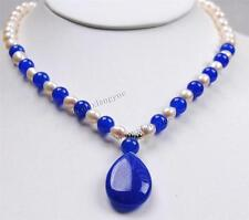 """Real Rice White Akoya Pearl/Blue Sapphire Pendant Necklace 18"""""""