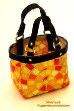 #4006# Einkaufstasche gelb/orange aus Stoff/Leder - Puppenstuben M 1:12