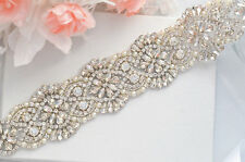 Wedding Bridal Sash Belt, Crystal Pearl Wedding Dress Sash Belt = 20.5 INCHES