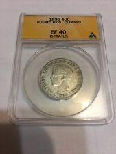 PUERTO RICO 1896 40 CENTAVOS SILVER COIN ANACS XF