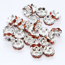 Free shipping 20pcs 8MM Plated silver crystal spacer beads Jewelry Making No.55