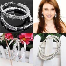 White Gold Filled 2 Row Rhinestone Crystal 45mm Big Silver Hoop Earrings Korean