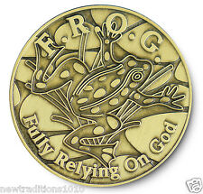 Antiqued Bronze F.R.O.G. (Fully Relying On God)AA/NA 12 Step Program Recovery