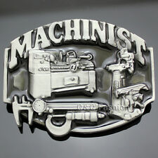 Vintage Silver 3D Machinists Working Machinery Tools Trades Union Belt Buckle