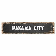 SP0254 PANAMA CITY Street Chic Sign Bar Store Shop Cafe Home Wall Decor