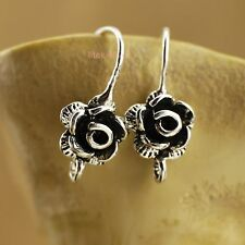 925 Sterling Silver Earrings DIY Flower Ear Wire French Hook Connector A1973