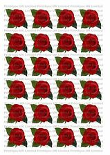 24 Edible cake toppers decorations Red Rose with leaves flower wafer rice paper