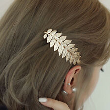Women Girl Retro Gold Leaf Branch French Hair Clip Hairpin Barrette Bobby Pin