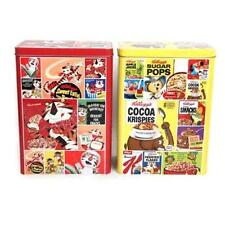 "Set di 2 VINTAGE KELLOGGS cereali TIN Rice Krispies CORN FLAKES ""Designs ld0027"