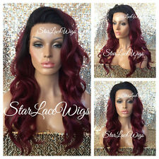 Long Wavy Lace Front Wig Off Black Dark Root Burgundy Red Ombre Mix Heat Safe Ok
