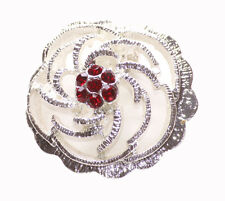 Opulent Ruby Red Diamante Encrusted Chrome Rose Metal Brooch(Zx215)