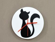 Sitting Cat - Black & White Silhouette - Wall Clock