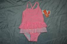 Joe Fresh One Piece Baby Girl Swimsuit Pink/White Polka Dot/Stripe Reg $30 NWT