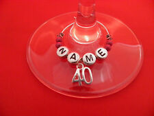 Personalised 40th Birthday Wine Glass Charm with Name in a Gift Card - FREE P&P