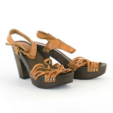 Vintage Style H&M Faux Wood Heeled Summer Sandal Shoes UK 6 EU 39 US 8