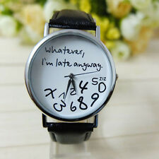 Womens Watch Leather creative Whatever I am Late Anyway Letter Wrist Watches UK