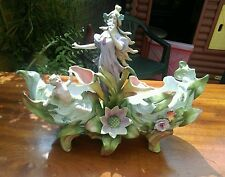 Antique victorian dresden? porcelain pretty lady cherub cupid centre piece