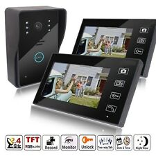 "7"" Wireless Video Touch Key Camera Door Phone Doorbell Intercom IR 2 Monitors"