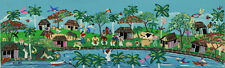 """CUBAN ART #066**CARLOS A** THE ZOO 39X12"""" SIGNED ON CANVAS"""