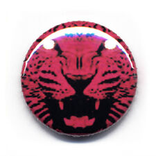 Badge TIGRE ROSE pink tiger fauve animal gros chat rock retro punk button Ø25mm