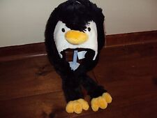 * Girls Boys Penguin Animal Wild Hat Black Ear Cover Flaps Costume Warm Ages 3+