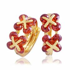 Fashion Ruby Crystal Small Hoop  earring Girls Jewelry Gift Gold
