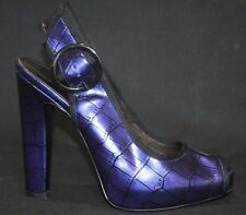 Jessica Simpson Blue Croc Patent Womens High Heels Peep Toes Shoes Size 6