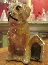 ancienne statuette chien niche en platre bulldog epoque 1930
