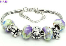 one new handmade beautiful charm bracelet European style porcelain beaded S-A40