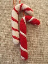 2 x fab CANDY CANE handcrafted felted wool fabric Christmas tree decorations NEW