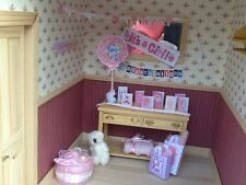 Dolls house miniature 12th scale - Baby Girl decoration set