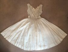 ORIGINALE 1950s seta avorio con perline JACQUAR full circle Gonna Abito Da Sposa UK 6-8