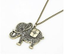 Vintage Bronze Hollow Lucky Elephant Pendant Necklace N233