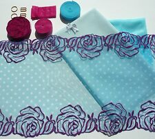 Fun Blue Dotty Lace Bra Making Kit. Inc Fabric and Notions. Small / Medium Sizes