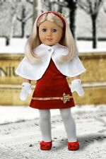 Happy Holidays - Clothes for 18 inch Doll, Fancy Party Dress Cape Mittens Shoes